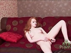 Arousing redhead all alone and masturbating tubes