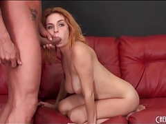 Dick sucking chick with crazy hair sits on his shaft tubes