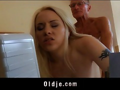 Young blonde secretary fucks the old guy at the office tubes