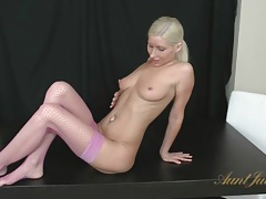 Masturbation in sexy fishnets with a hot blonde tubes
