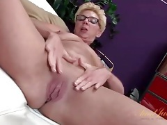 Grandma lets you see her shaved pussy in close up tubes