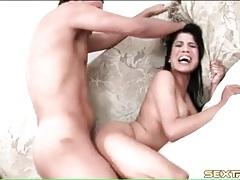 Fucking a bitch roughly and choking her throat tubes