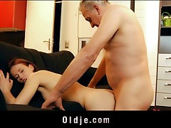 Sweet young redhead and an old man fuck tubes