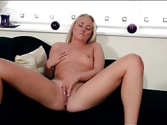 Moaning solo blonde girl masturbates her wet pussy tubes