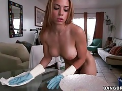 Naked house cleaning with a big breasted latin maid tubes