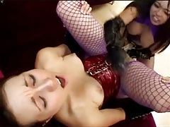 Lesbians in latex and lingerie have strapon sex tubes