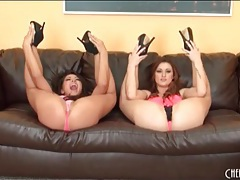 Heels and lingerie look amazing on two beauties tubes