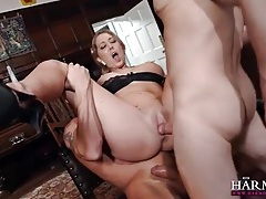 Hottie with big natural titties takes two dicks tubes