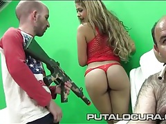 Latina in a fishnet dress chats with three weirdos tubes