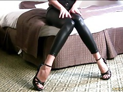 High heels and wet look leggings on a joi babe tubes