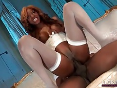 Perfect white lingerie on a horny black girl tubes