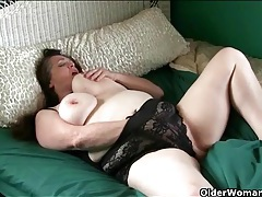 Chubby old lady sleeps in sexy black lingerie tubes