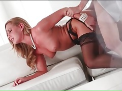 Great doggystyle fuck of a babe in black stockings tubes