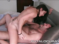 Strapon screwing girls joined by a hairy guy for sex tubes