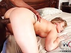 Blonde puts her ass up and takes bbc from behind tubes
