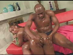 Oiled black girl raven vixen gives a lusty bj tubes