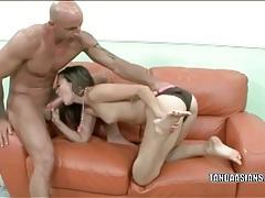 Big cumshot lands on her sexy asian feet tubes