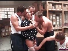 Warehouse workers gangbang a hot blonde slut tubes
