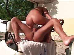 Wet pussy impaled on a stiff dick outdoors tubes