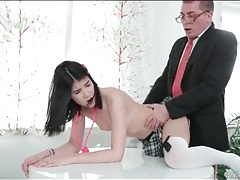 Schoolgirl in bow stockings fucked by her teacher tubes