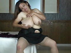 Tight satin blouse on a sultry bbw tubes