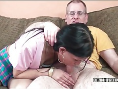 Her bald cunt is tight and gorgeous as he pounds it tubes