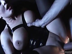 Dick drills the slippery pussy and ass of a latex girl tubes
