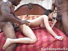 Shared white girl enjoyed by two black cocks tubes