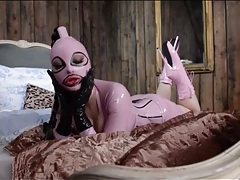 Kinky fetish model latex lucy in pink tubes