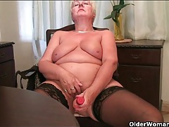 Granny takes a break from work to fuck a toy tubes