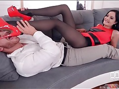 Pantyhose babes needs him to suck her toes tubes