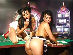 Pinup girls have lesbian sex in a casino tubes