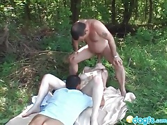 Sweet redhead agrees to a threesome outdoors tubes