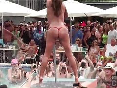 Spring break pool party with topless babes tubes