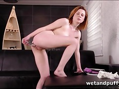 Fresh cutie takes her time fucking a big toy tubes