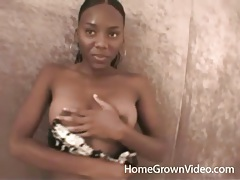 Pretty black amateur strips in her first porn tubes