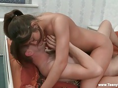 Ponytail cutie bent over and slammed doggystyle tubes
