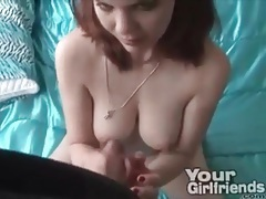 Busty girl jerks off a dick until he cums tubes