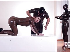 Latex master and his two slaves play kinky games tubes