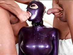 Latex fetish slave fucked by two big dick guys tubes
