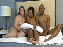 Chubby white chick and a black couple have sex tubes