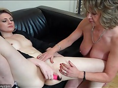 Tasty young lady masturbates as granny rubs her clit tubes