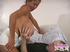 Old guy gets to suck those gigantic tits tubes