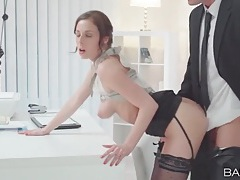 Stunning secretary bends over his desk for dick tubes