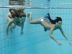 Girls tear off their bikinis underwater tubes