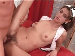 Her hairy cunt gapes open from fucking tubes