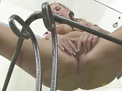 Curvy mom masturbates solo on a glass table tubes