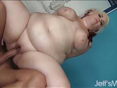 Fat whore milks his boner with her cunt tubes