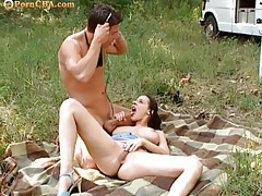 Fucking deep into her hot cunt in the grass tubes