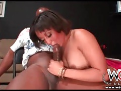 Stripper dances for the black man and blows him tubes